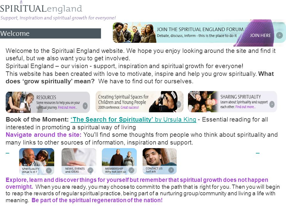 Welcome to the Spiritual England website.