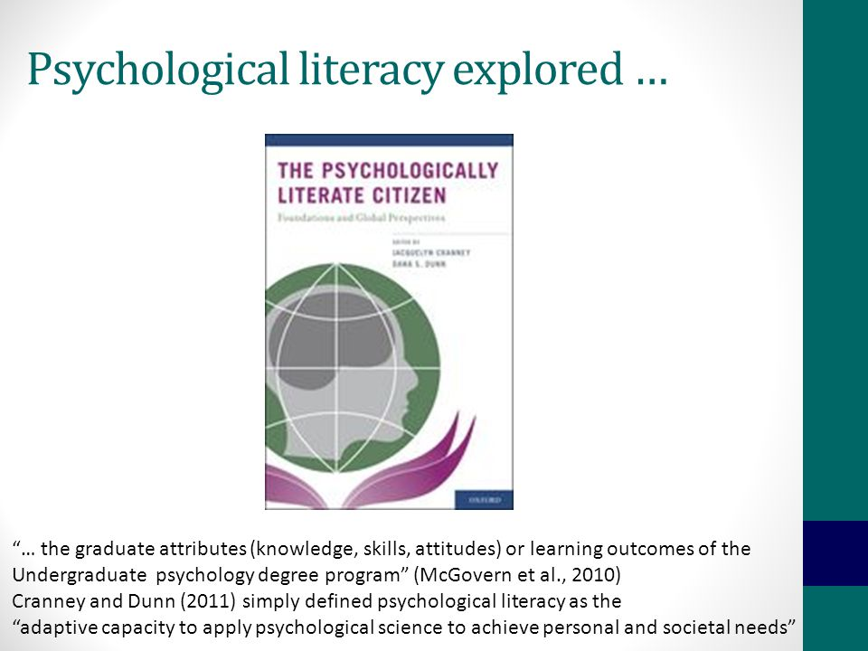 Psychological literacy explored … … the graduate attributes (knowledge, skills, attitudes) or learning outcomes of the Undergraduate psychology degree program (McGovern et al., 2010) Cranney and Dunn (2011) simply defined psychological literacy as the adaptive capacity to apply psychological science to achieve personal and societal needs