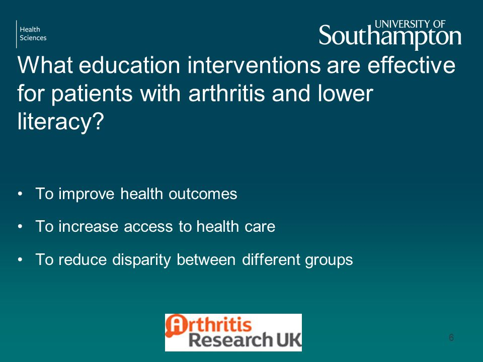 What education interventions are effective for patients with arthritis and lower literacy.
