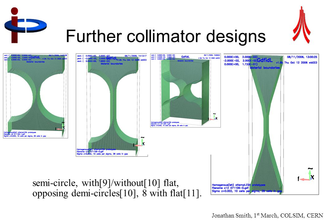 Jonathan Smith, 1 st March, COLSIM, CERN 18 Further collimator designs semi-circle, with[9]/without[10] flat, opposing demi-circles[10], 8 with flat[1