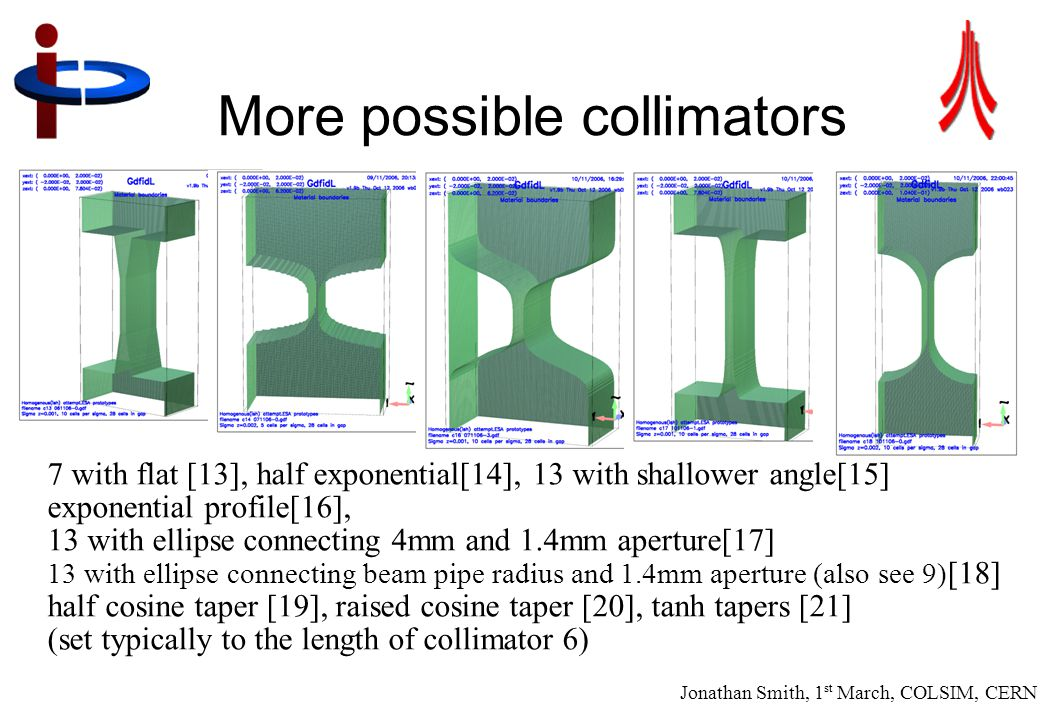 Jonathan Smith, 1 st March, COLSIM, CERN 19 More possible collimators 7 with flat [13], half exponential[14], 13 with shallower angle[15] exponential