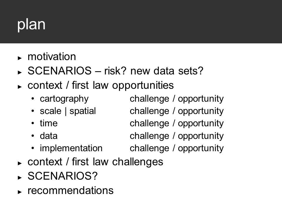 plan ► motivation ► SCENARIOS – risk. new data sets.