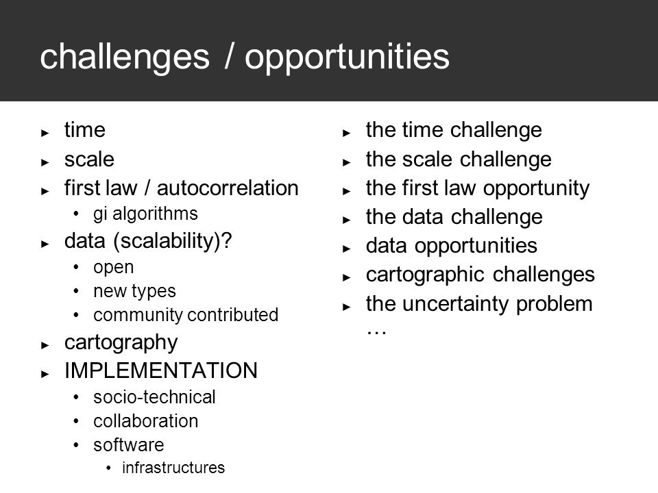 challenges / opportunities ► time ► scale ► first law / autocorrelation gi algorithms ► data (scalability).