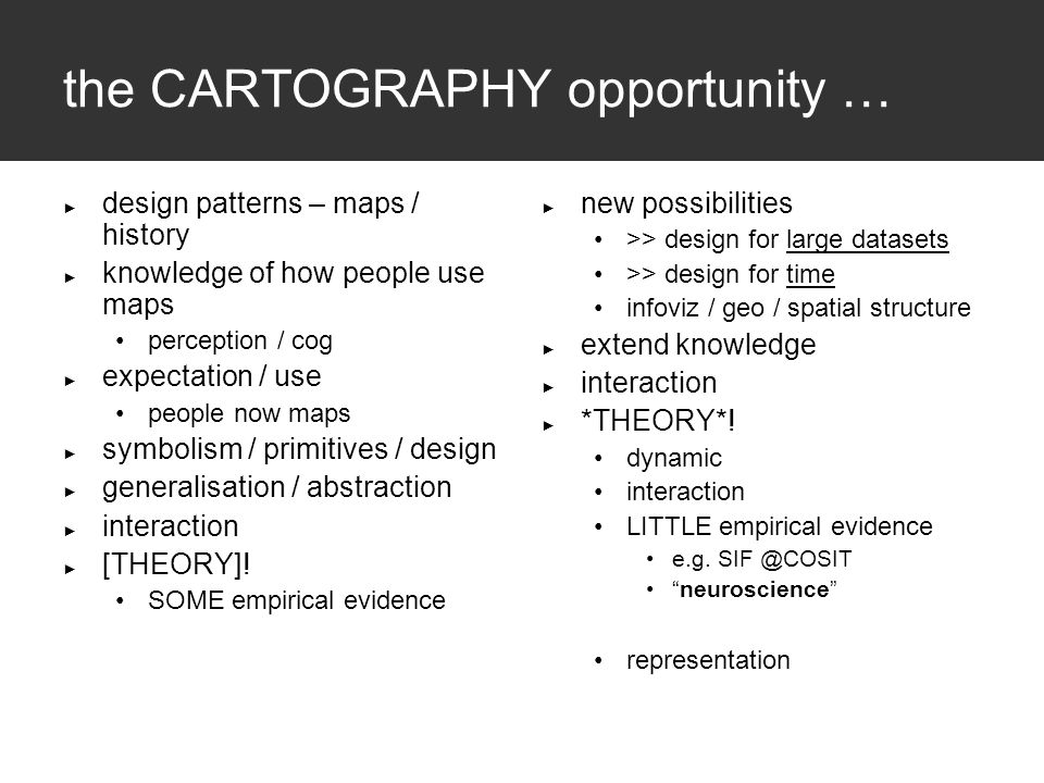 the CARTOGRAPHY opportunity … ► design patterns – maps / history ► knowledge of how people use maps perception / cog ► expectation / use people now maps ► symbolism / primitives / design ► generalisation / abstraction ► interaction ► [THEORY].