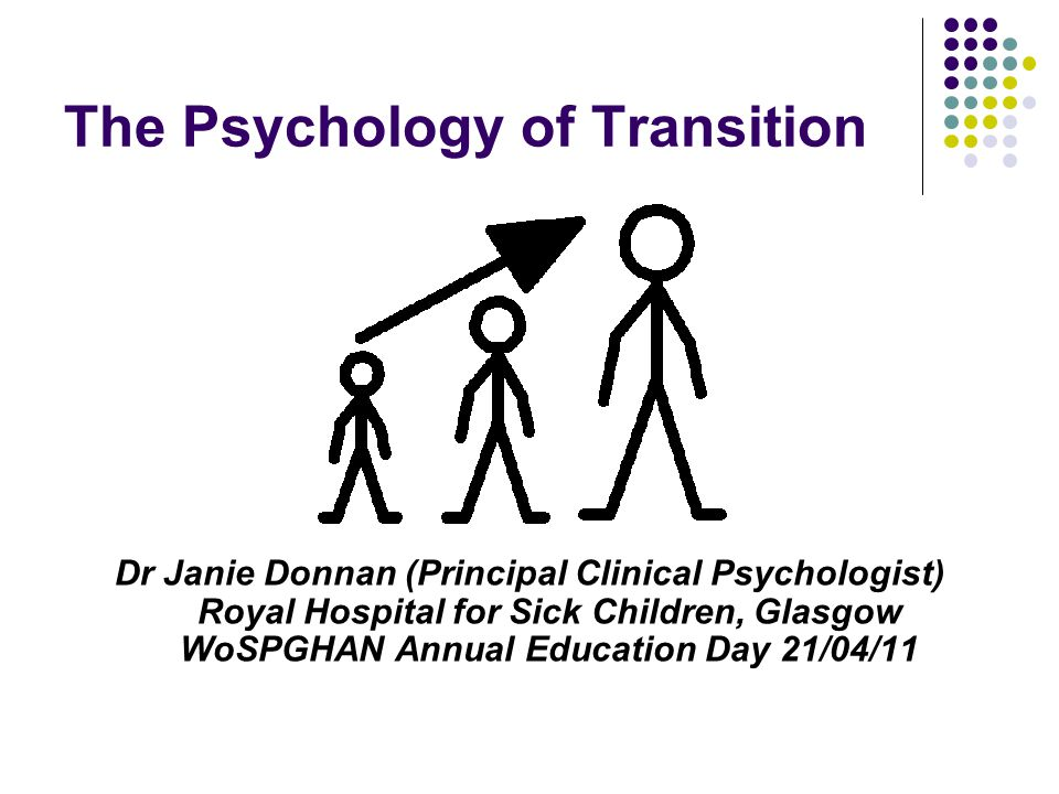 The Psychology of Transition Dr Janie Donnan (Principal Clinical Psychologist) Royal Hospital for Sick Children, Glasgow WoSPGHAN Annual Education Day