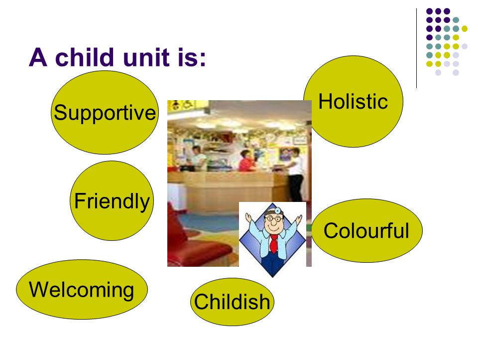 A child unit is: Friendly Supportive Holistic Welcoming Colourful Childish