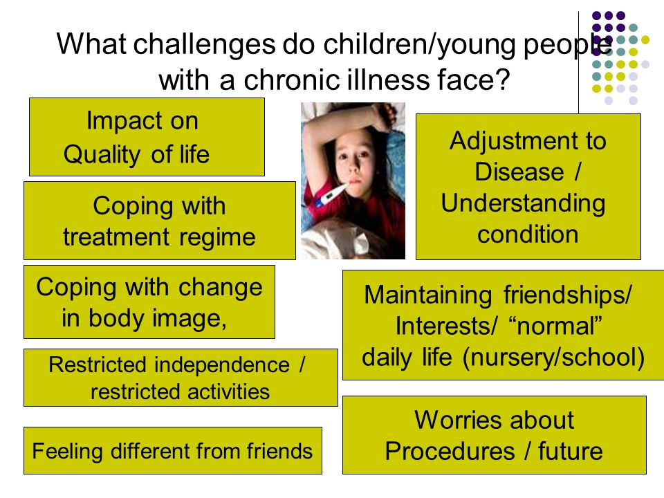 Coping with treatment regime Worries about Procedures / future Coping with change in body image, Impact on Quality of life What challenges do children