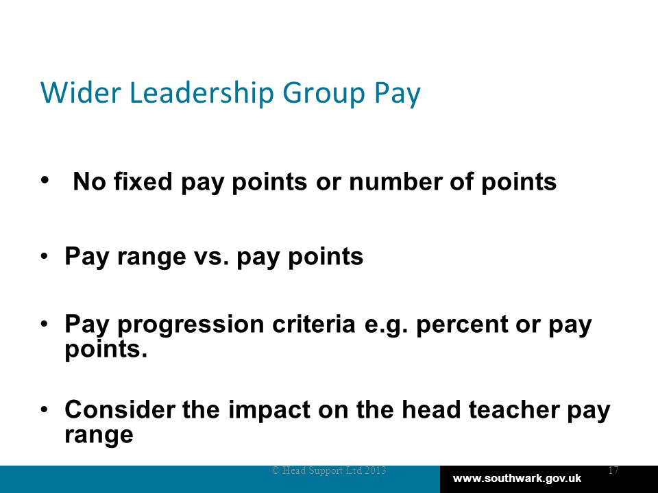 www.southwark.gov.uk Wider Leadership Group Pay No fixed pay points or number of points Pay range vs.
