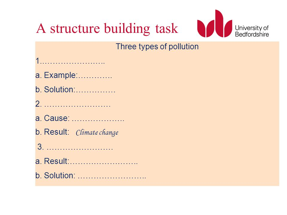 A structure building task Three types of pollution 1..………………….. a. Example:…………. b. Solution:…………… 2. ……………………. a. Cause: ……………….. b. Result: Climate