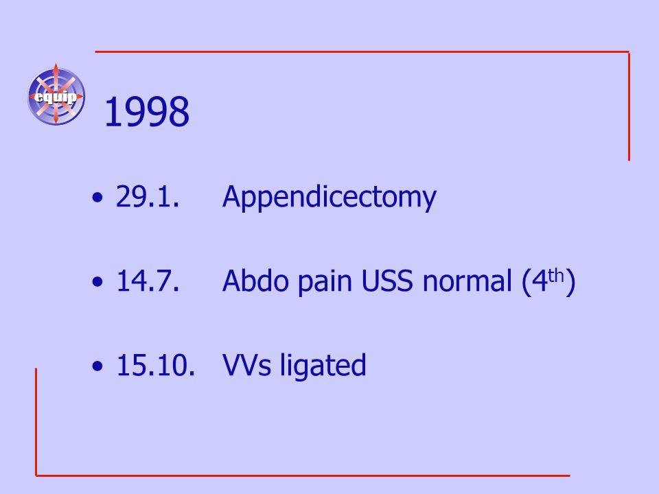 equip 1998 29.1.Appendicectomy 14.7.Abdo pain USS normal (4 th ) 15.10.VVs ligated