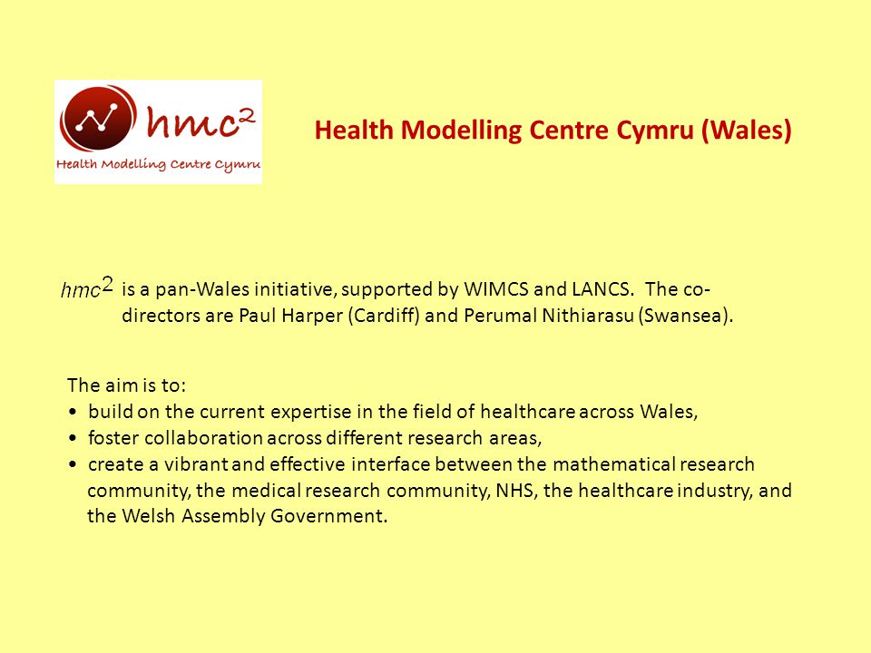 Health Modelling Centre Cymru (Wales) is a pan-Wales initiative, supported by WIMCS and LANCS.