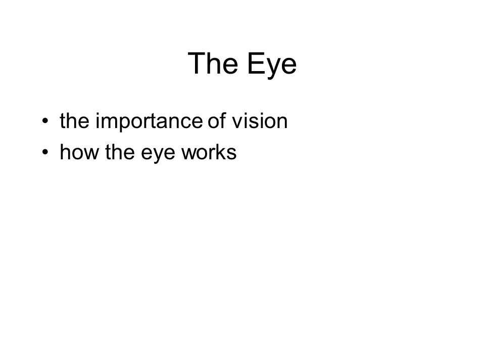 The Eye the importance of vision how the eye works