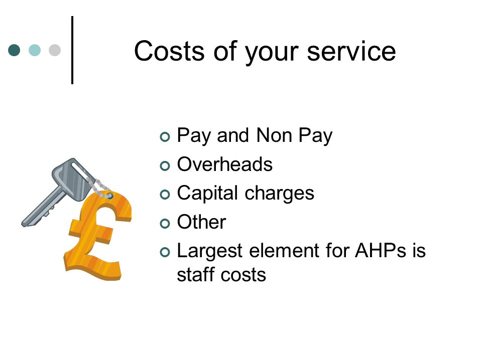 Costs of your service Pay and Non Pay Overheads Capital charges Other Largest element for AHPs is staff costs