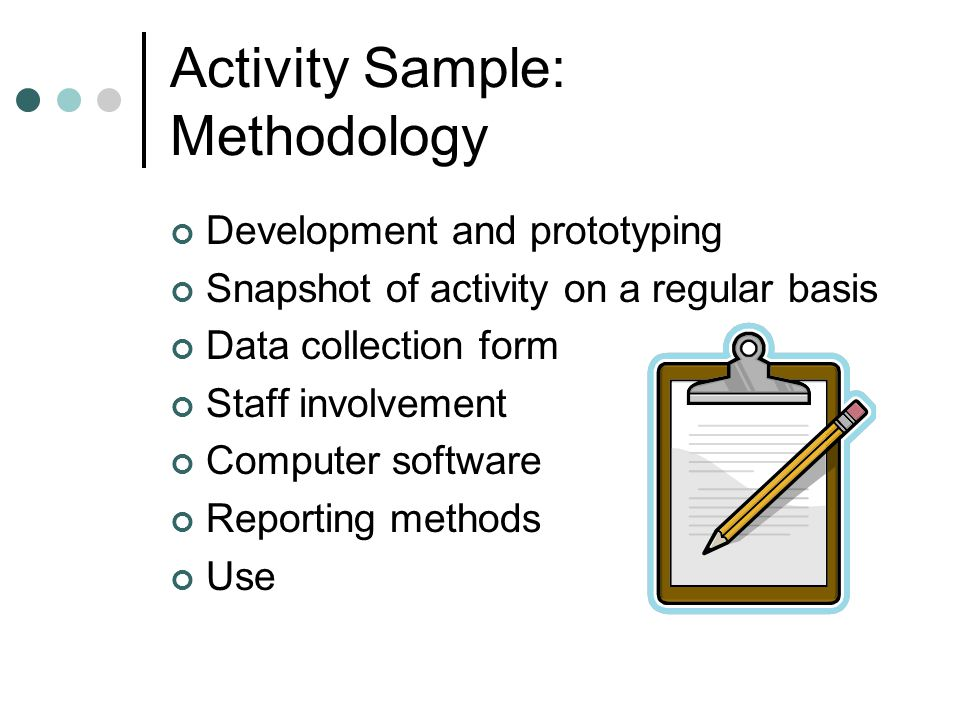 Activity Sample: Methodology Development and prototyping Snapshot of activity on a regular basis Data collection form Staff involvement Computer softw