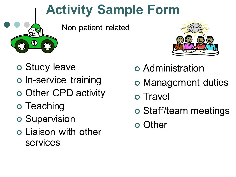 Non patient related Study leave In-service training Other CPD activity Teaching Supervision Liaison with other services Administration Management duti