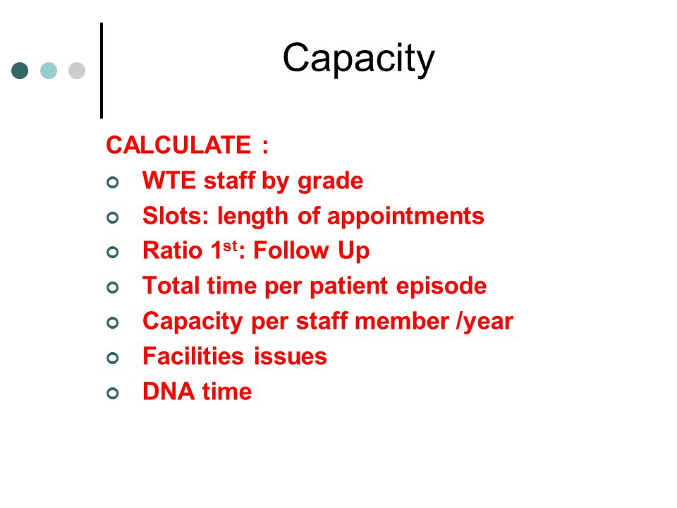 Capacity CALCULATE : WTE staff by grade Slots: length of appointments Ratio 1 st : Follow Up Total time per patient episode Capacity per staff member