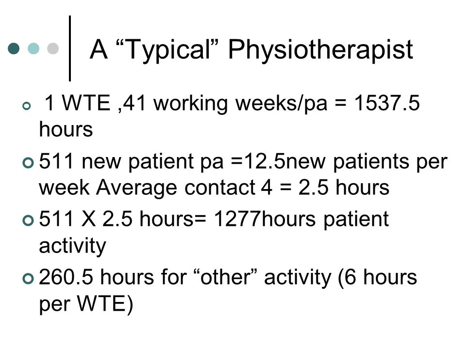 "A ""Typical"" Physiotherapist 1 WTE,41 working weeks/pa = 1537.5 hours 511 new patient pa =12.5new patients per week Average contact 4 = 2.5 hours 511 X"
