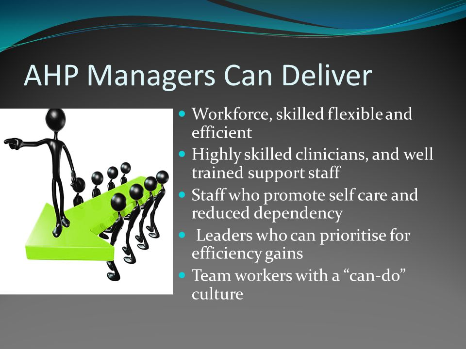 AHP Managers Can Deliver Workforce, skilled flexible and efficient Highly skilled clinicians, and well trained support staff Staff who promote self care and reduced dependency Leaders who can prioritise for efficiency gains Team workers with a can-do culture