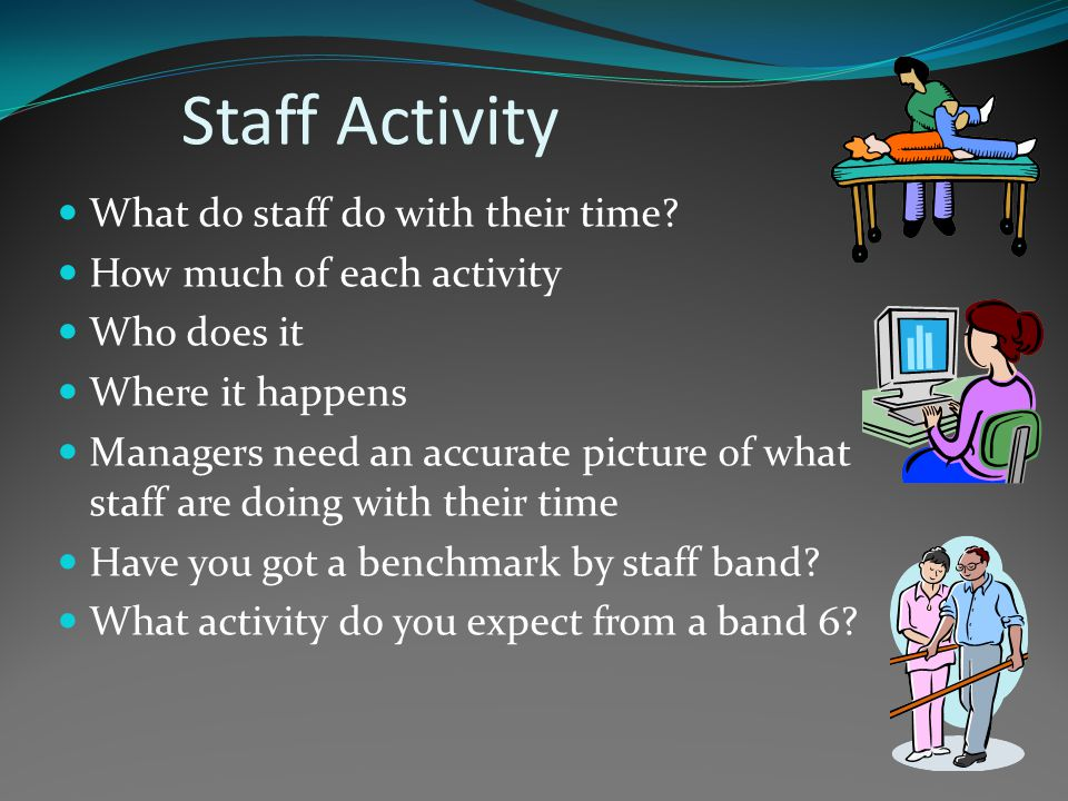 Staff Activity What do staff do with their time.
