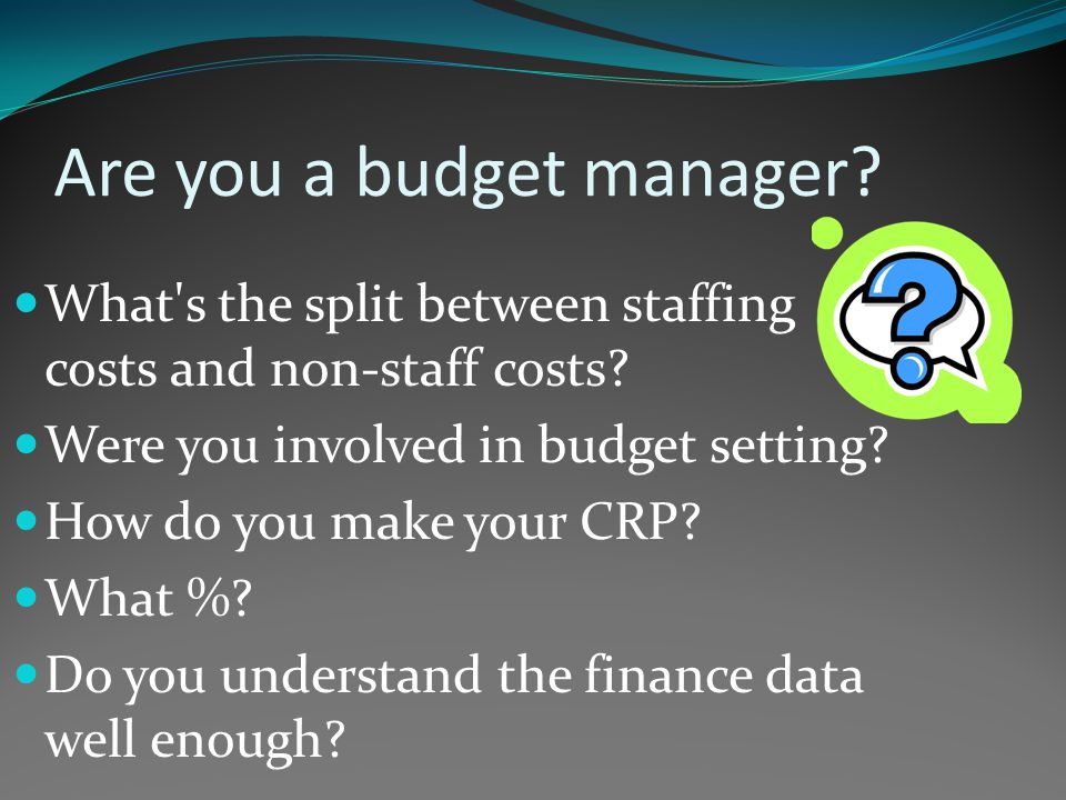 Are you a budget manager. What s the split between staffing costs and non-staff costs.