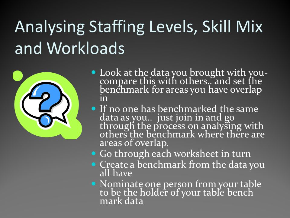 Analysing Staffing Levels, Skill Mix and Workloads Look at the data you brought with you- compare this with others..