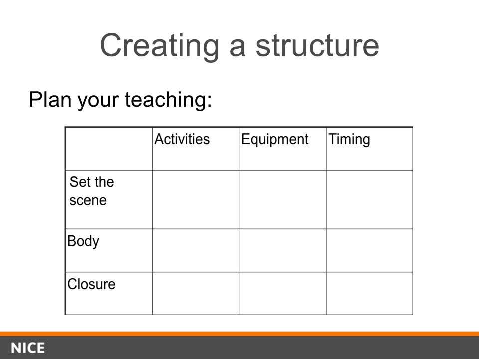Creating a structure Plan your teaching: