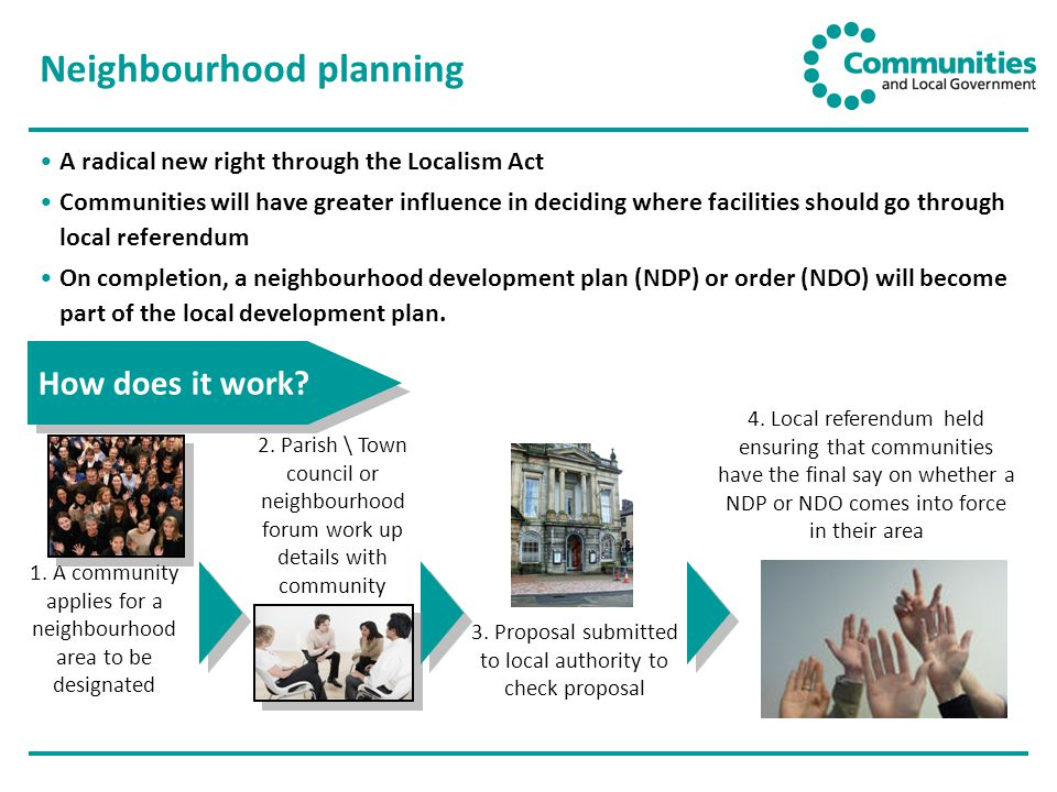 Neighbourhood planning A radical new right through the Localism Act Communities will have greater influence in deciding where facilities should go through local referendum On completion, a neighbourhood development plan (NDP) or order (NDO) will become part of the local development plan.
