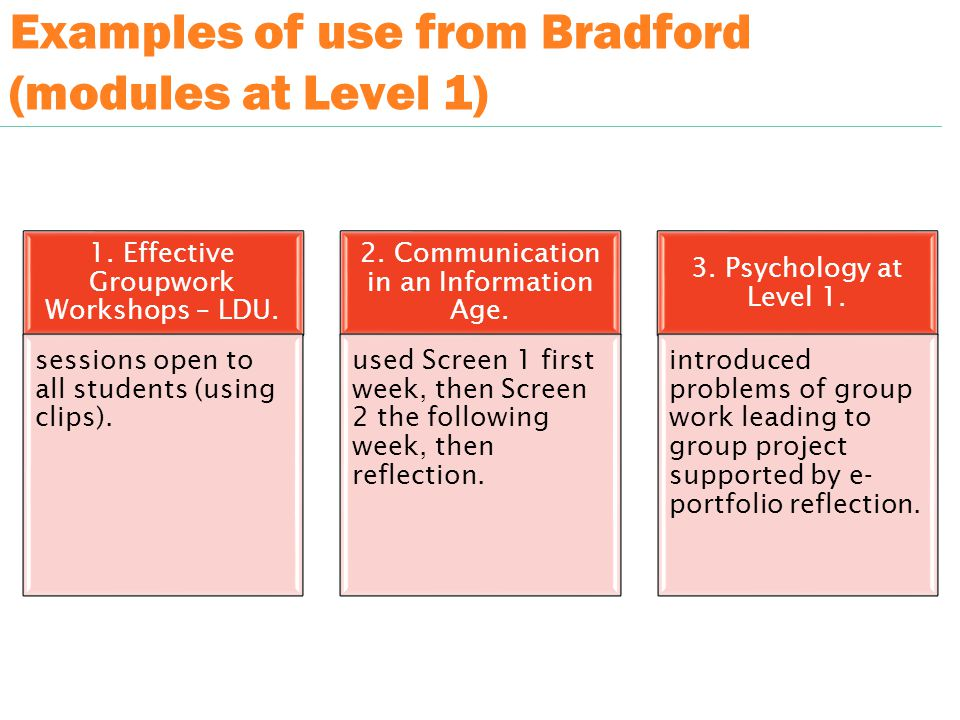 Examples of use from Bradford (modules at Level 1) 1.