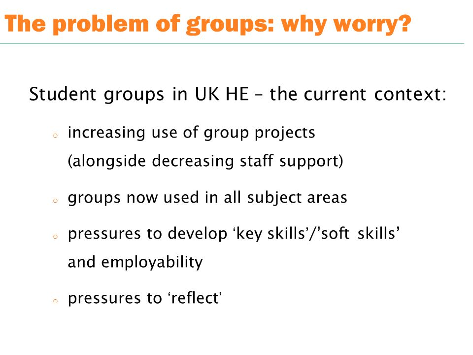 The problem of groups: why worry.