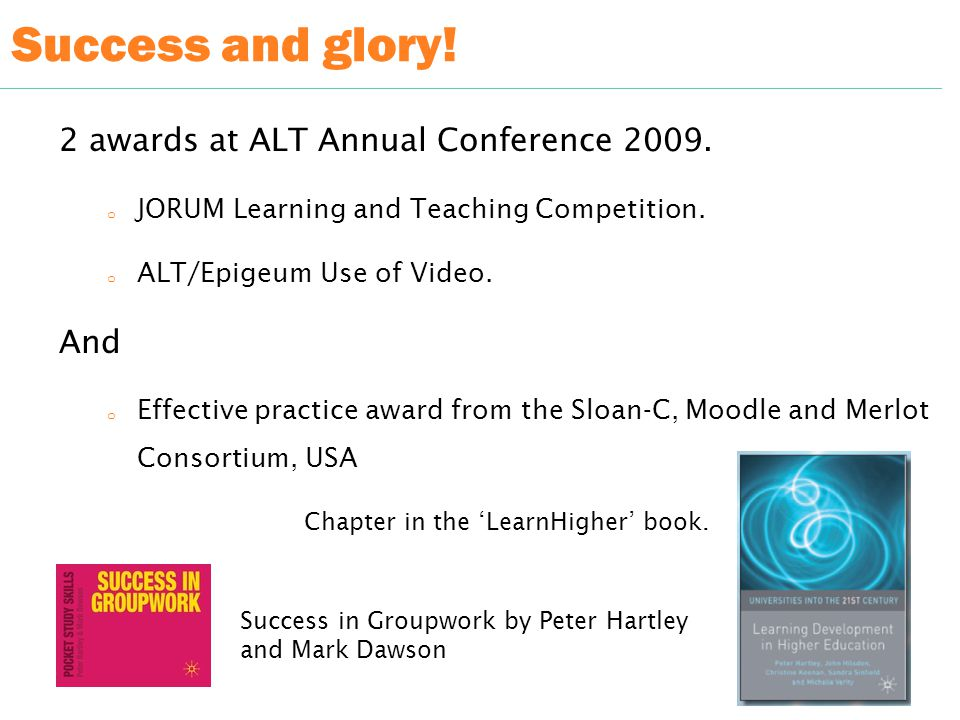 Success and glory. 2 awards at ALT Annual Conference 2009.