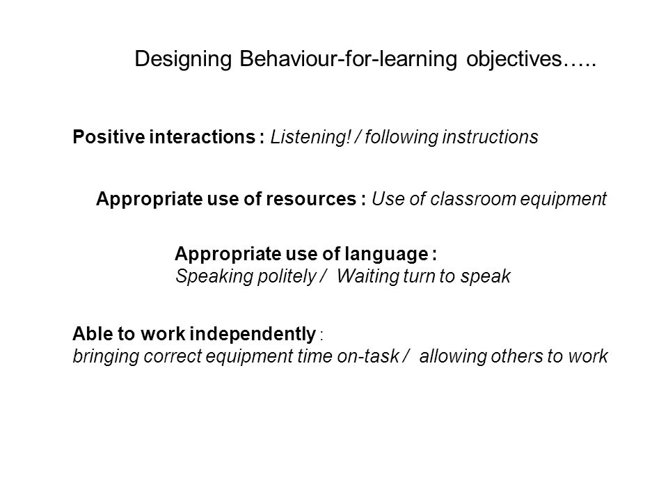 Designing Behaviour-for-learning objectives….. Positive interactions : Listening.