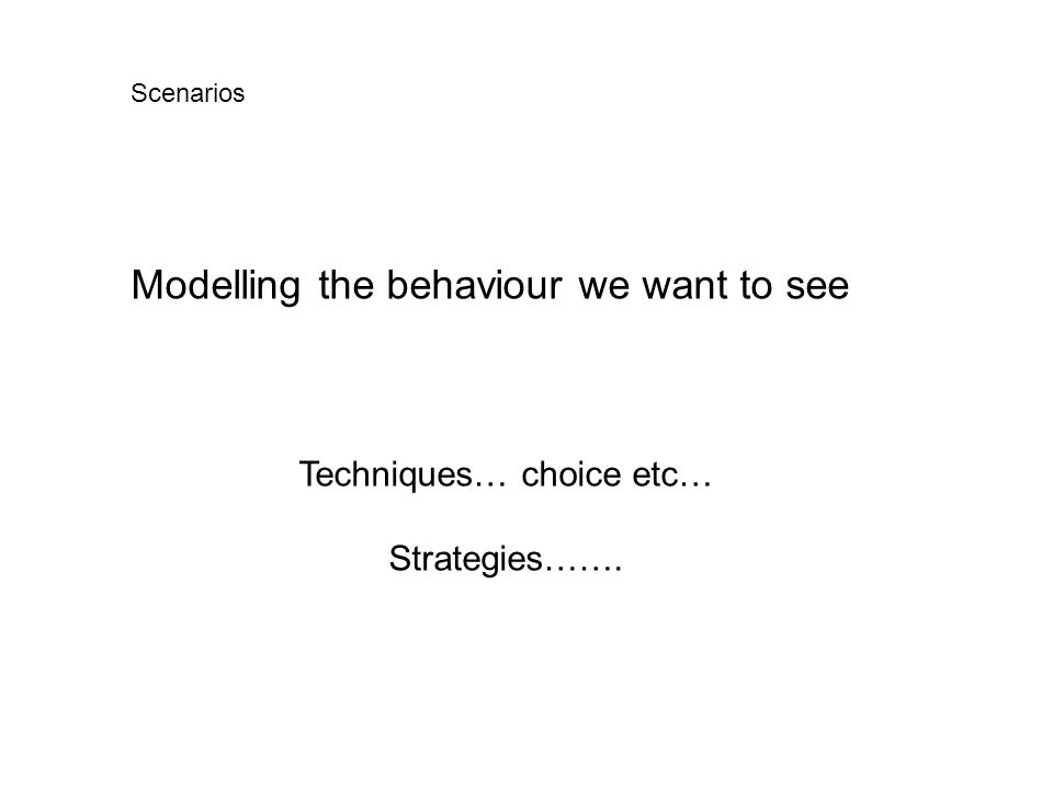 Modelling the behaviour we want to see Techniques… choice etc… Strategies……. Scenarios
