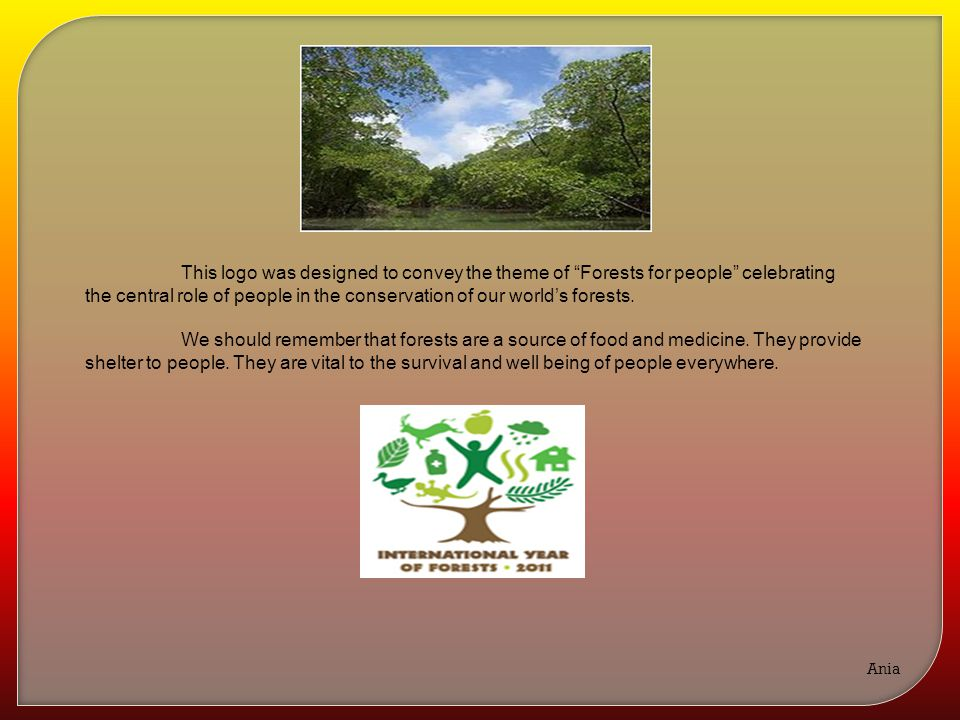 """This logo was designed to convey the theme of """"Forests for people"""" celebrating the central role of people in the conservation of our world's forests."""