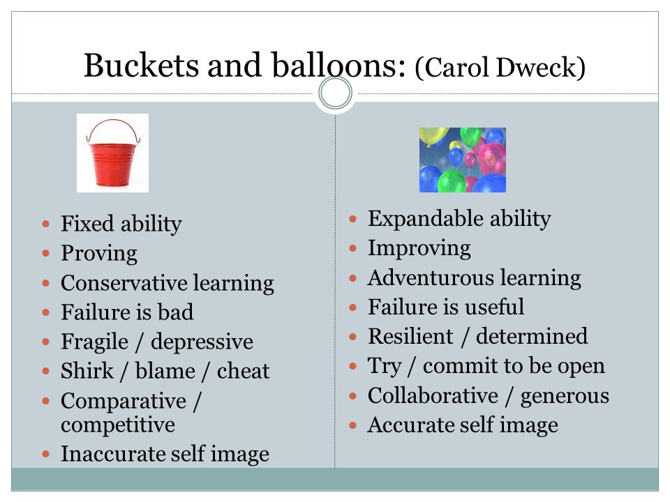Buckets and balloons: (Carol Dweck) Fixed ability Proving Conservative learning Failure is bad Fragile / depressive Shirk / blame / cheat Comparative / competitive Inaccurate self image Expandable ability Improving Adventurous learning Failure is useful Resilient / determined Try / commit to be open Collaborative / generous Accurate self image