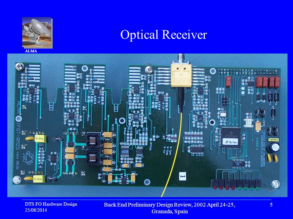 DTS FO Hardware Design 25/08/2014 Back End Preliminary Design Review, 2002 April 24-25, Granada, Spain 5 ALMA Project Optical Receiver