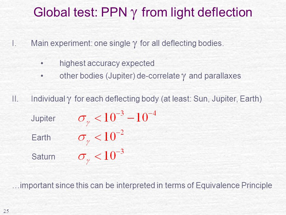 25 Global test: PPN  from light deflection I.Main experiment: one single  for all deflecting bodies.