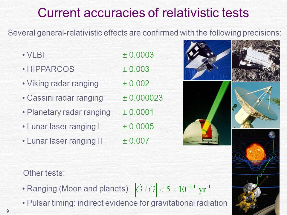 9 Current accuracies of relativistic tests Several general-relativistic effects are confirmed with the following precisions: VLBI± 0.0003 HIPPARCOS ± 0.003 Viking radar ranging ± 0.002 Cassini radar ranging± 0.000023 Planetary radar ranging ± 0.0001 Lunar laser ranging I± 0.0005 Lunar laser ranging II± 0.007 Other tests: Ranging (Moon and planets) Pulsar timing: indirect evidence for gravitational radiation