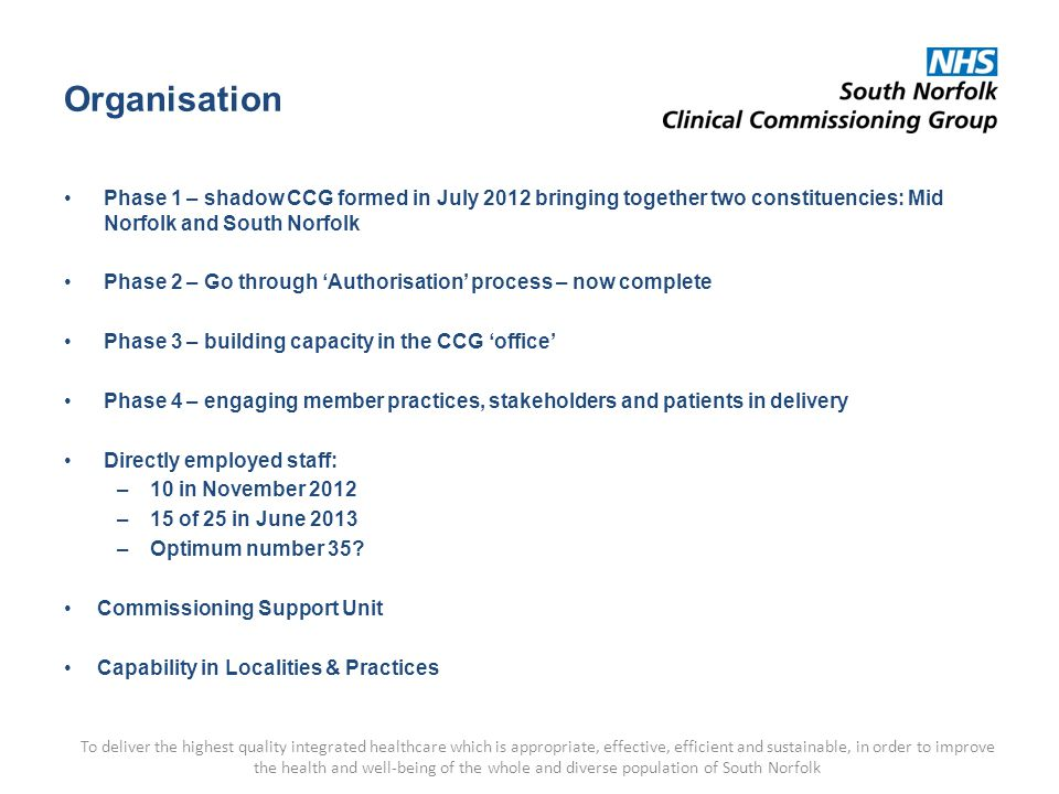Organisation Phase 1 – shadow CCG formed in July 2012 bringing together two constituencies: Mid Norfolk and South Norfolk Phase 2 – Go through 'Authorisation' process – now complete Phase 3 – building capacity in the CCG 'office' Phase 4 – engaging member practices, stakeholders and patients in delivery Directly employed staff: –10 in November 2012 –15 of 25 in June 2013 –Optimum number 35.