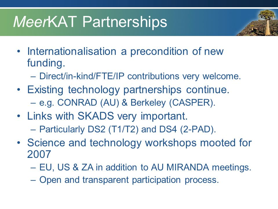 MeerKAT Partnerships Internationalisation a precondition of new funding. –Direct/in-kind/FTE/IP contributions very welcome. Existing technology partne