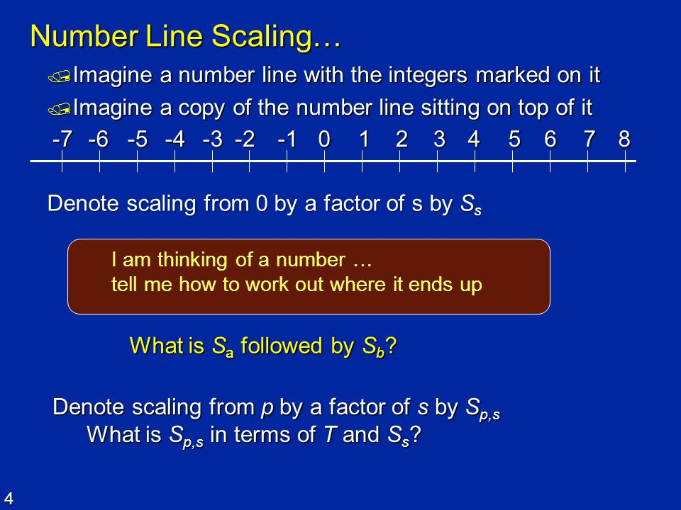 4 Number Line Scaling…  Imagine a number line with the integers marked on it  Imagine a copy of the number line sitting on top of it 012345678-2-3-4