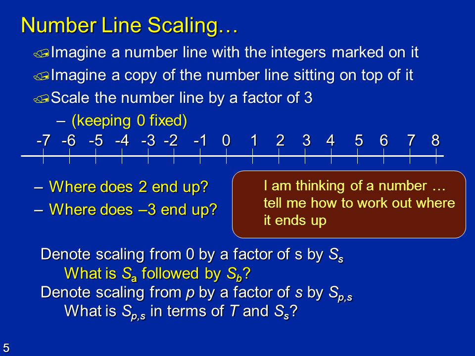 5 Number Line Scaling…  Imagine a number line with the integers marked on it  Imagine a copy of the number line sitting on top of it  Scale the num