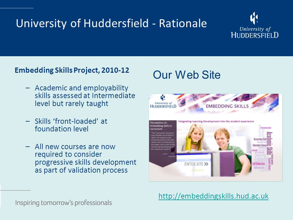 University of Huddersfield - Rationale Embedding Skills Project, 2010-12 –Academic and employability skills assessed at Intermediate level but rarely taught –Skills 'front-loaded' at foundation level –All new courses are now required to consider progressive skills development as part of validation process Our Web Site http://embeddingskills.hud.ac.uk