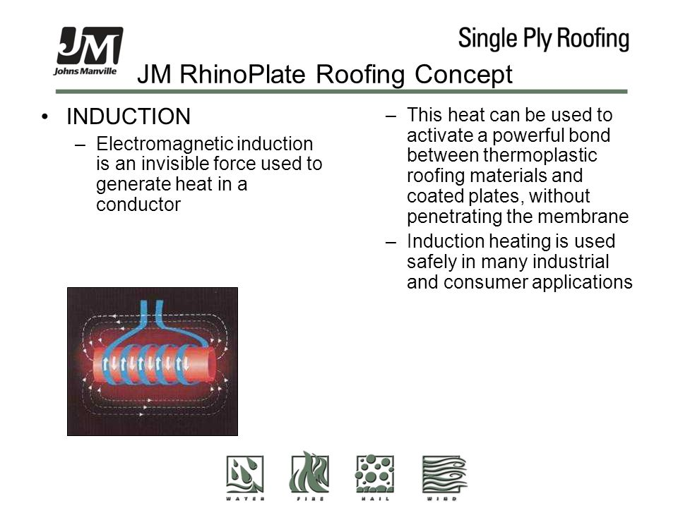 JM RhinoPlate Roofing Concept INDUCTION –Electromagnetic induction is an invisible force used to generate heat in a conductor –This heat can be used to activate a powerful bond between thermoplastic roofing materials and coated plates, without penetrating the membrane –Induction heating is used safely in many industrial and consumer applications