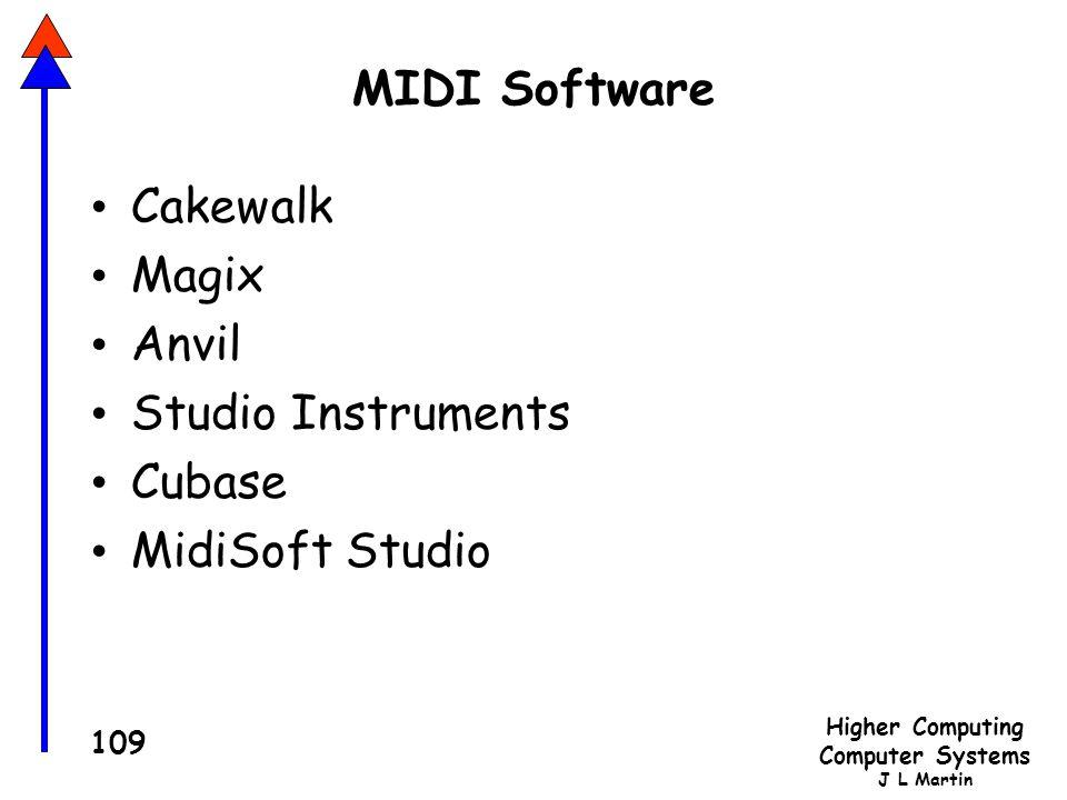 Higher Computing Computer Systems J L Martin 109 MIDI Software Cakewalk Magix Anvil Studio Instruments Cubase MidiSoft Studio