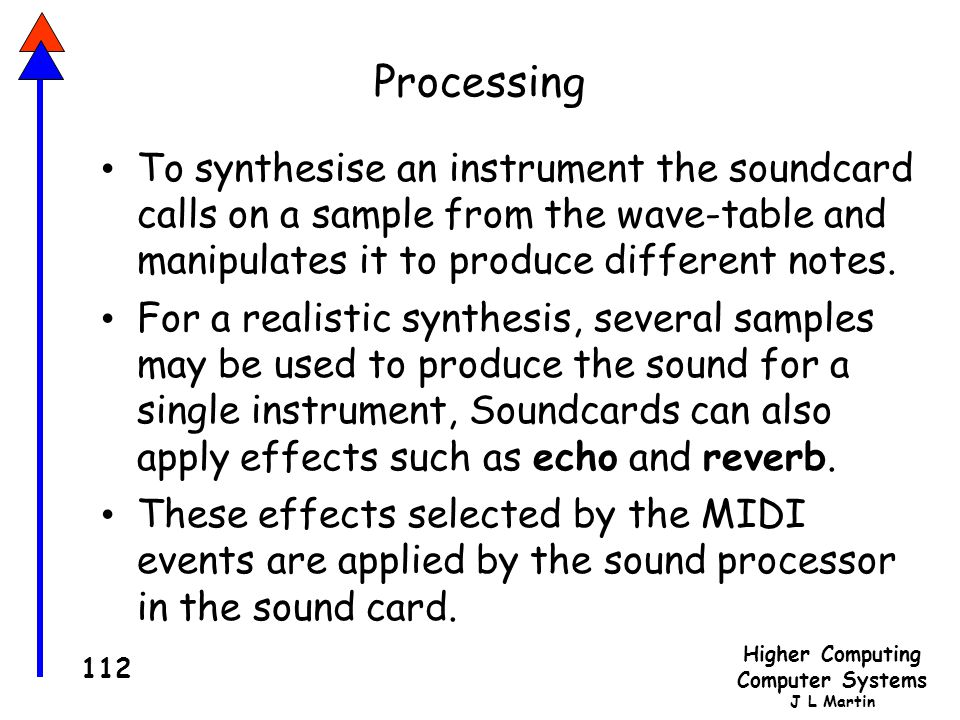 Higher Computing Computer Systems J L Martin 112 Processing To synthesise an instrument the soundcard calls on a sample from the wave-table and manipulates it to produce different notes.
