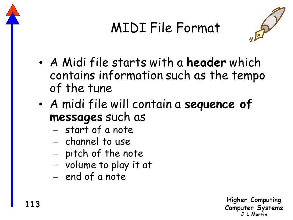 Higher Computing Computer Systems J L Martin 113 MIDI File Format A Midi file starts with a header which contains information such as the tempo of the tune A midi file will contain a sequence of messages such as – start of a note – channel to use – pitch of the note – volume to play it at – end of a note