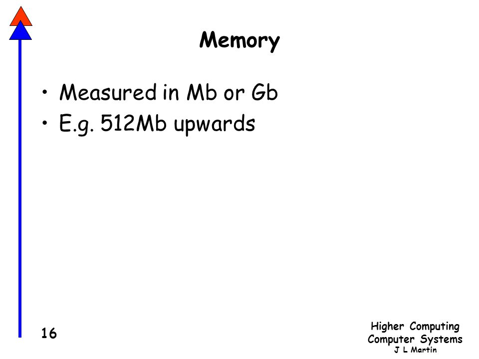 Higher Computing Computer Systems J L Martin 16 Memory Measured in Mb or Gb E.g. 512Mb upwards