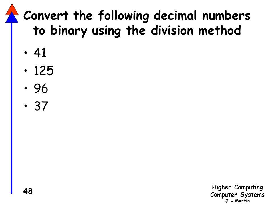 Higher Computing Computer Systems J L Martin 48 Convert the following decimal numbers to binary using the division method 41 125 96 37