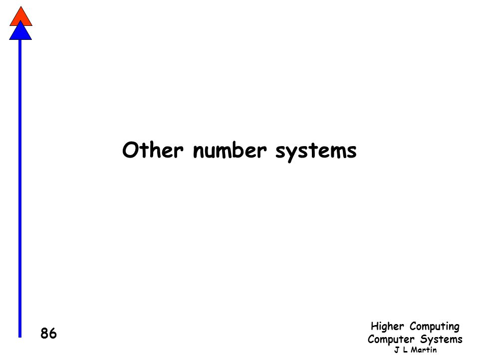 Higher Computing Computer Systems J L Martin 86 Other number systems