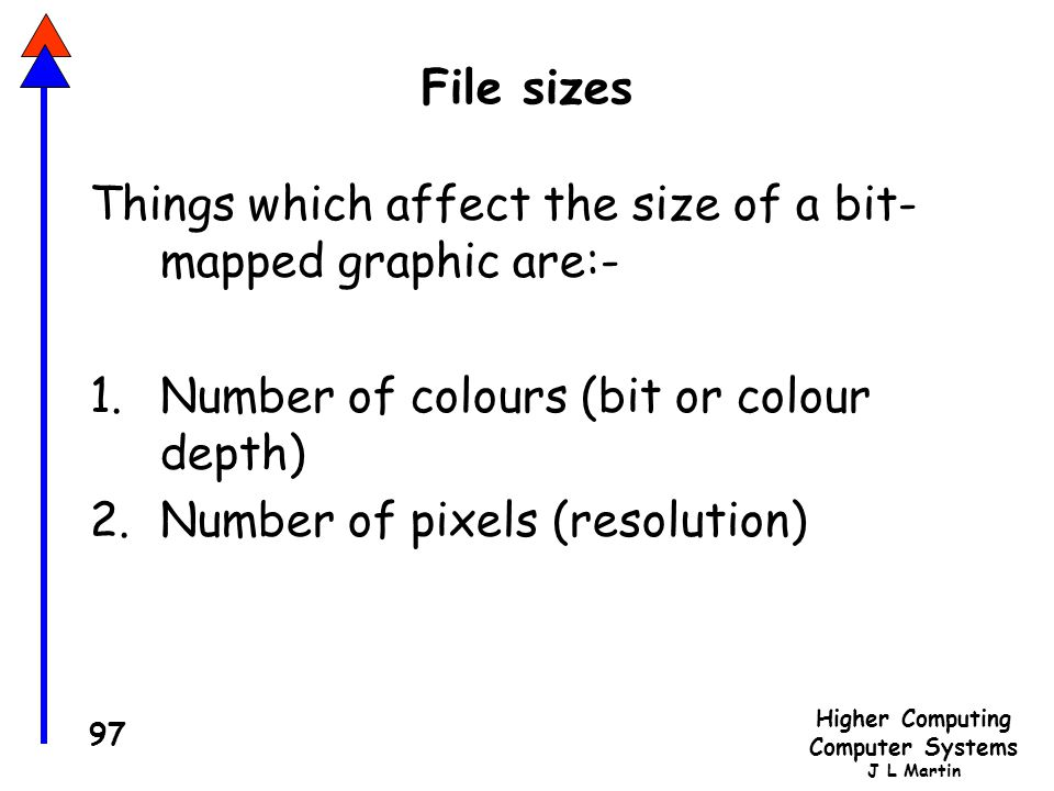 Higher Computing Computer Systems J L Martin 97 File sizes Things which affect the size of a bit- mapped graphic are:- 1.Number of colours (bit or colour depth) 2.Number of pixels (resolution)